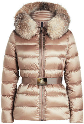Moncler Tatie Down Jacket with Fur-Trimmed Hood