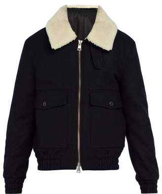 Ami - Shearling Collar Wool Blend Jacket - Mens - Navy