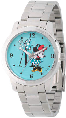 DISNEY MINNIE MOUSE Disney Minnie Mouse Womens Silver Tone Bracelet Watch-Wds000258