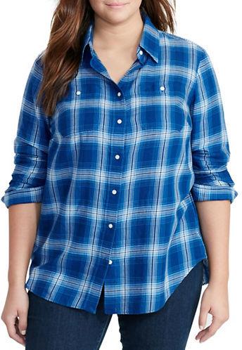 Lauren Ralph LaurenLauren Ralph Lauren Plus Plaid Cotton Twill Shirt