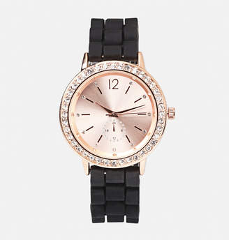 Avenue Rose Face Rubber Strap Watch