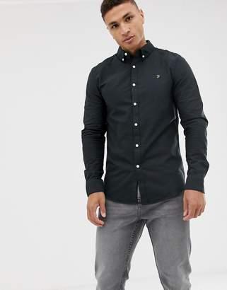 Farah Brewer slim fit oxford shirt in black