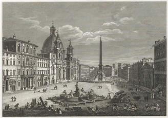 One Kings Lane Vintage Piazza Navona - Rome - C. 1840