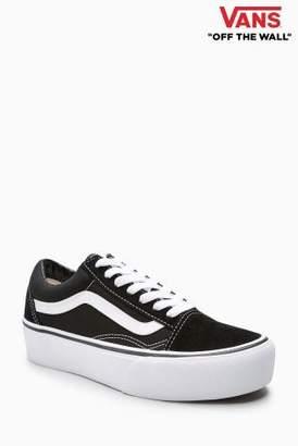 Next Womens Vans Black/White Platform Old Skool
