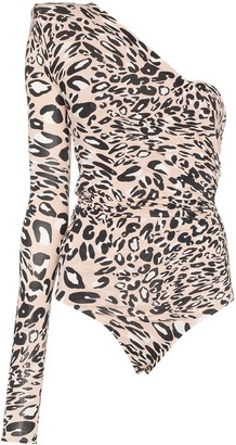 Alexandre Vauthier one-shoulder leopard-print body