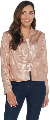 Halston H By H by Distressed Faux Suede Long Sleeve Jacket