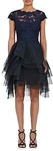 Monique Lhuillier WOMEN'S TULLE & LACE A-LINE DRESS-NAVY SIZE 10