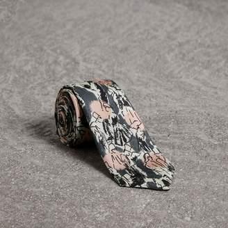 Burberry Slim Cut Figurative Print Linen Silk Tie