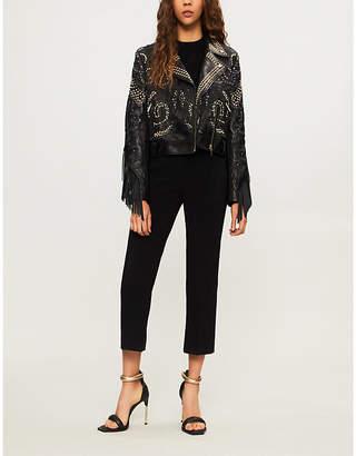 Elie Saab Bead-embellished fringed leather jacket