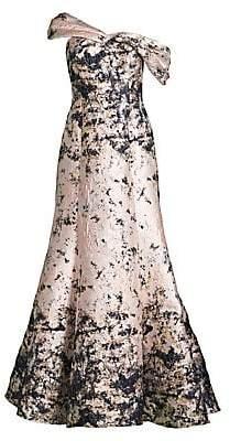 Aidan Mattox Women's Asymmetrical Jacquard One-Shoulder A-Line Gown