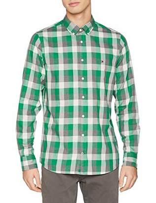 688dc098 Tommy Hilfiger Men's Slim Herringbone Check Shirt Casual Shirt, Green  (Ultramarine Green/Multi