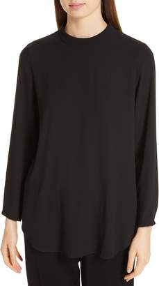 Eileen Fisher Mock Neck Silk Top