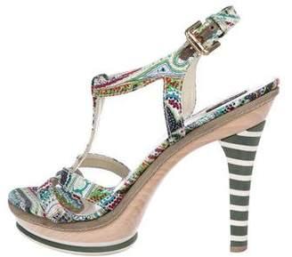 Etro Platform T-Strap Sandals