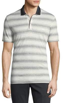 Salvatore Ferragamo Men's Linen-Cotton Blend Nautical Striped Polo Shirt with Gancini