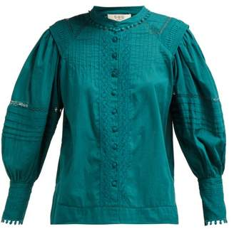 Sea Hemingway Pintuck Cotton Blouse - Womens - Dark Green