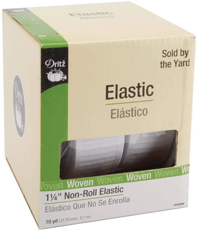 Dritz Ribbed Non-Roll Elastic - 18 Yards in White