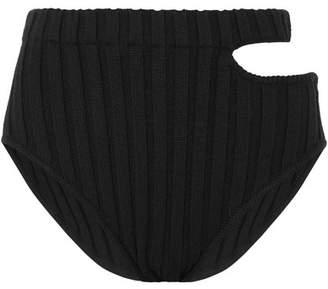 MARIEYAT - Sade Cutout Ribbed Merino Wool-blend Briefs - Black