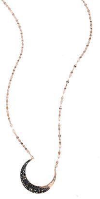 Lana Reckless Black Diamond Crescent Necklace in 14K Rose Gold