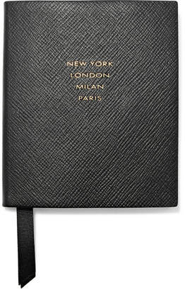 Smythson Panama Runway Notes Textured-leather Notebook - Black