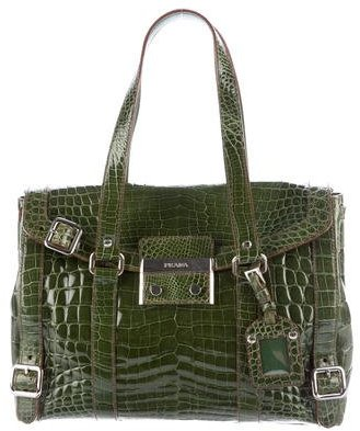 pradaPrada Lucido Lock Glazed Crocodile Bag