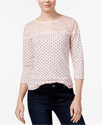Maison Jules Polka-Dot Lace-Trim Top, Only at Macy's $39.50 thestylecure.com