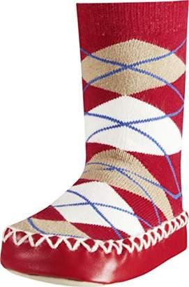 Playshoes Girls' Slipper Socks, Moccasins, House Shoes, Plaid,1-2 (Size:19-22/)