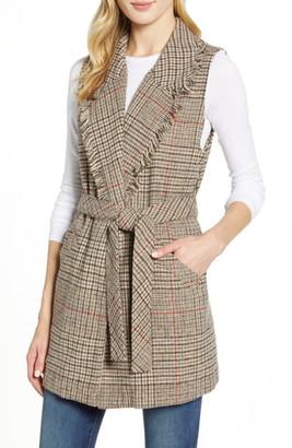 Wit & Wisdom Fringe Collar Belted Vest