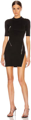 Alexander Wang Short Sleeve Traveling Zip Rib Dress in Black | FWRD