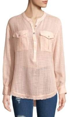 Free People Long-Sleeve Frayed-Hem Shirt