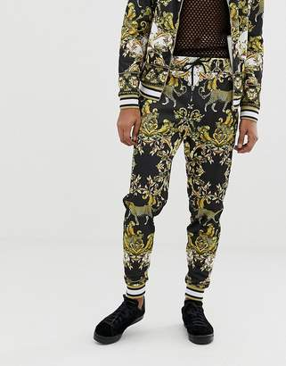 Jaded London jogger in leopard baroque print
