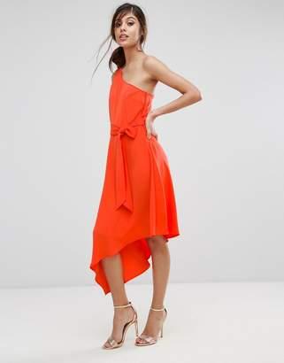 Warehouse One Shoulder Tie Waist Asymmetric Hem Midi Dress