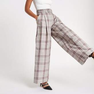 River Island Womens Beige check wide leg belted pants