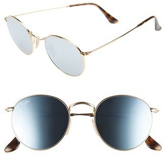 Women's Ray-Ban Icons 50Mm Round Sunglasses - Gold/ Blue $175 thestylecure.com