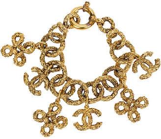 One Kings Lane Vintage Chanel Florentine Logo Charms Bracelet - Vintage Lux