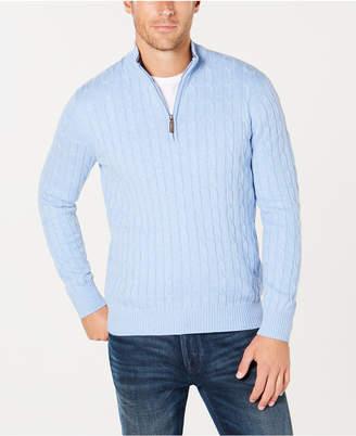Club Room Men Cable Quarter-Zip Pima Cotton Sweater