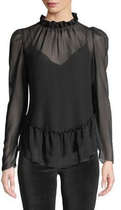See by Chloe Sheer High-Neck Long-Sleeve Ruffle Blouse