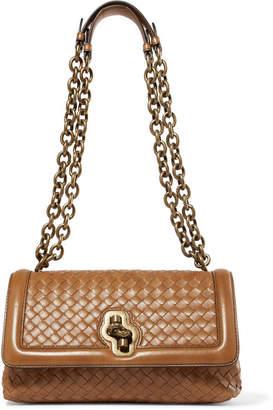Bottega Veneta Olimpia Knot Intrecciato Leather Shoulder Bag - Camel
