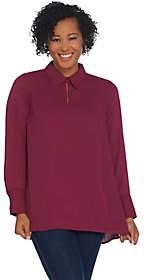 Joan Rivers Classics Collection Joan Rivers Flowy Long Sleeve Blouse w/ ButtonNeckline