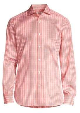 Kiton Contemporary-Fit Plaid Button-Down Shirt
