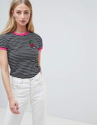 Brave Soul Pina Stripe T Shirt with Sequin Badge