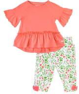 RuffleButts Coral Top & Pants Set