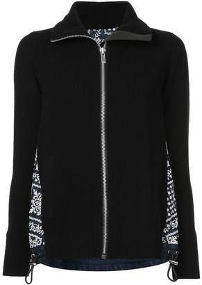 Sacai embroidered detail knitted jacket