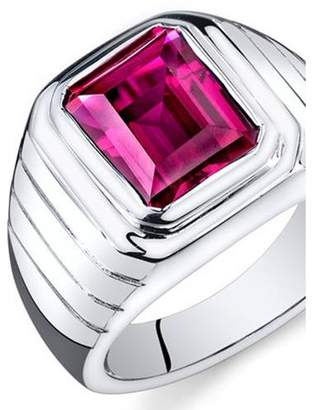 Oravo 6.50 Carat T.G.W. Men's Created Ruby Rhodium-Plated Sterling Silver Engagement Ring