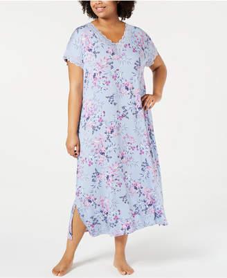 f03e4ea91e02 Charter Club Plus Size Printed Lace-Trim Soft Knit Nightgown