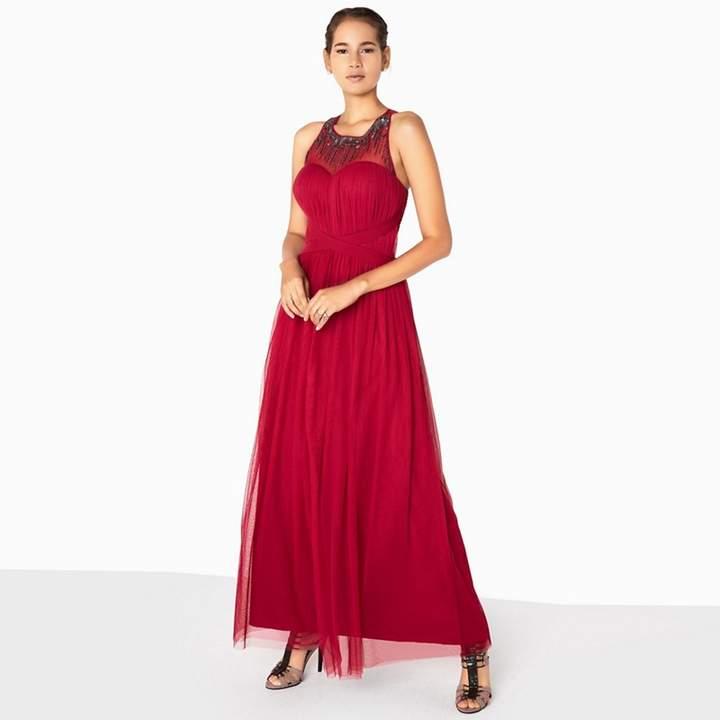 Red Felicity Embellished Mesh Maxi Dress