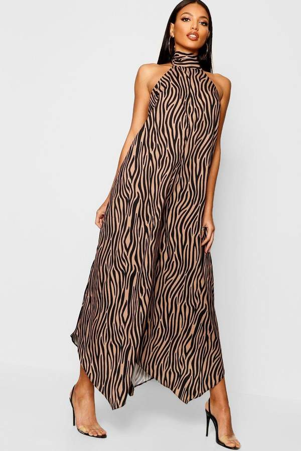 Satin Zebra Halterneck Jumpsuit