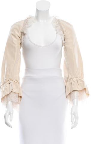 Alexander McQueenAlexander McQueen Silk Lace-Trimmed Shrug w/ Tags