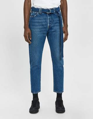 Off-White Off White Slim Low Crotch Denim Jean in Medium Blue Wash