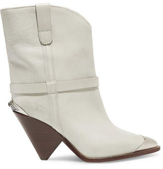 Isabel Marant Lamsy Metal-trimmed Leather Cowboy Boots - Off-white