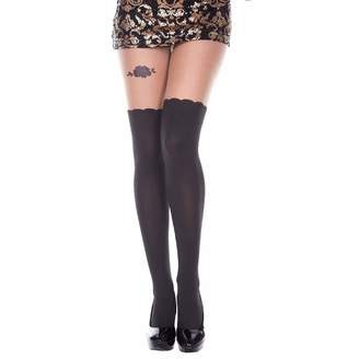 ca40d582d MUSIC LEGS Women s Mock Curve Tights with Rose Garter Look